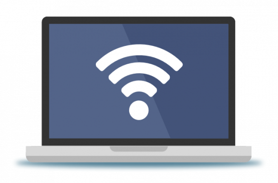 laptop with wifi icon 560x370 - Why is fiber optic internet better?